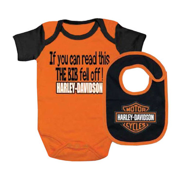 Harley-Davidson Baby Boy's Interlock B&S Creeper & Bib Set, Orange 3060413 - Wisconsin Harley-Davidson