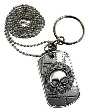 Harley-Davidson Dog Tag, Willie G. Skull / Bar & Shield Logo, Silver 8002732 - Wisconsin Harley-Davidson