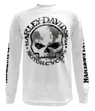 Harley-Davidson Men's Shirt, Willie G Skull Long Sleeve Tee, White 30296646 - Wisconsin Harley-Davidson