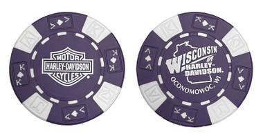 Harley-Davidson Wisconsin Harley-Davidson Poker Chip Purple & White CHIP - Wisconsin Harley-Davidson