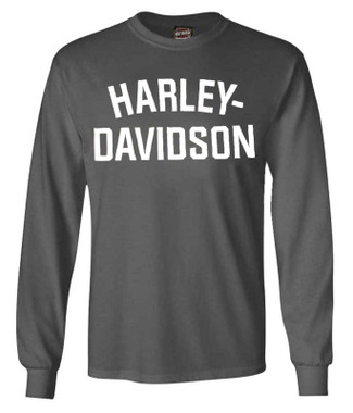 Harley-Davidson Men's T-Shirt Heritage H-D Long Sleeve Charcoal Tee 30296639 - Wisconsin Harley-Davidson