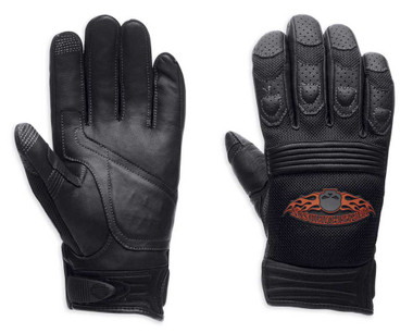 Harley-Davidson Men's Burning Skull Full-Finger Gloves 98252-13VM - Wisconsin Harley-Davidson