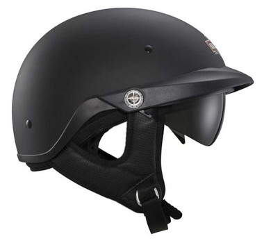 Harley-Davidson Men's Half Helmet, Pioneer Sun Shield, Matte Black 98366-15VM - Wisconsin Harley-Davidson