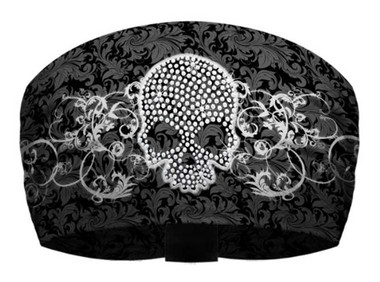 That's A Wrap Women's Skull & Scroll Black/White Knotty Band Head Wrap. KB2922 - Wisconsin Harley-Davidson