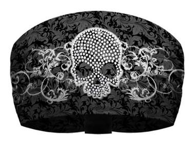 That's A Wrap Women's Skull & Scroll Black/White Knotty Band Head Wrap. KB2922 - Wisconsin Harley-Davidson