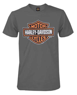 Harley-Davidson Mens Bar & Shield Short Sleeve T-shirt, Charcoal Tee 30291958 - Wisconsin Harley-Davidson