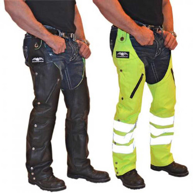 Missing Link Leather/Nylon Reversible Hook Chaps (Black/HiViz Green) RHCLG - Wisconsin Harley-Davidson