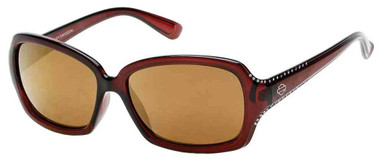 Harley-Davidson Women's Crystal Sunglasses, Brown Frames & Brown Mirror Lens - Wisconsin Harley-Davidson