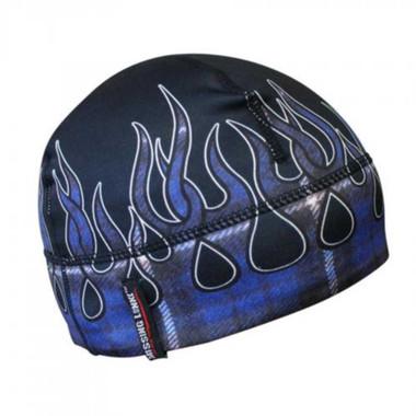 Missing Link Blue Flames Flannel GasCap Beanie Hat Skull Cap GCBF - Wisconsin Harley-Davidson