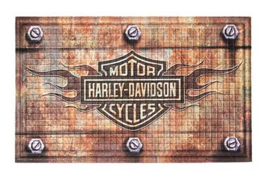 Harley-Davidson Embossed Flames Bar & Shield Entry Floor Mat, Brown 41EM4901 - Wisconsin Harley-Davidson