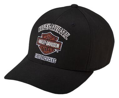 Harley-Davidson Men's Traditional Logo Stretch Cap Hat, Black. 99408-16VM - Wisconsin Harley-Davidson
