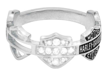 Harley-Davidson Women's Ring, Multi Bar & Shield Logo Band, Silver HDR0227 - Wisconsin Harley-Davidson