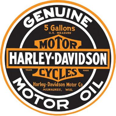 Harley-Davidson Genuine Motor Oil 14 Inch Round Tin Metal Sign 2010621 - Wisconsin Harley-Davidson