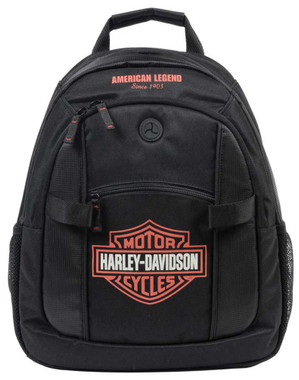 Harley-Davidson Bar & Shield Day Back Pack, Orange Logo, Black BP1968S-ORGBLK - Wisconsin Harley-Davidson