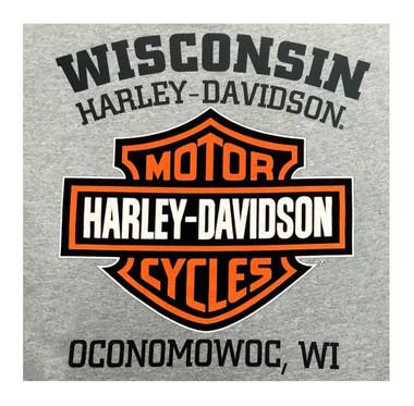 Harley-Davidson Men's Tee, Distressed Bar & Shield T-Shirt, Gray 30296597 - Wisconsin Harley-Davidson