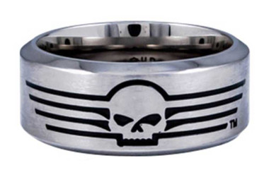 Harley-Davidson Men's Willie G Skull Lines Stainless Steel Band Ring HSR0027 - Wisconsin Harley-Davidson
