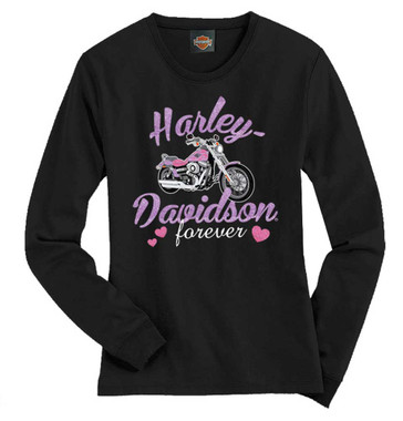Harley-Davidson Big Girls' Tee, Long Sleeve Glitter Bike Shirt, Black 1540585 - Wisconsin Harley-Davidson
