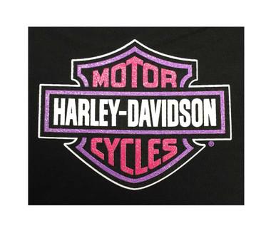 Harley-Davidson Big Girls' Tee, Long Sleeve Glitter Bike Shirt, Black 1540585 - Wisconsin Harley-Davidson