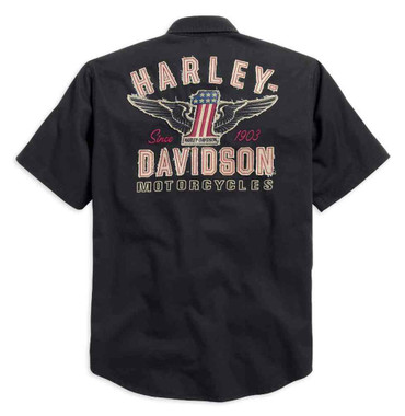 Harley-Davidson Men's Woven Shirt, Winged #1 Short Sleeve, Black 99036-15VM - Wisconsin Harley-Davidson