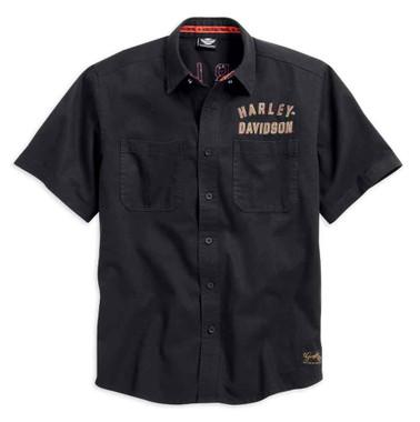 Harley-Davidson Men's Woven Shirt, Winged #1 Short Sleeve, Black 99036-15VM - Wisconsin Harley-Davidson