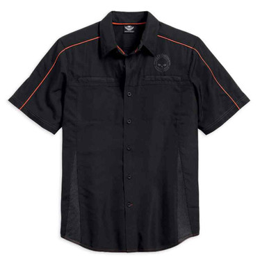 Harley-Davidson Men's Shirt, Vented Performance Willie G Skull, Black 99034-15VM - Wisconsin Harley-Davidson