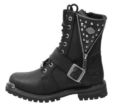 Harley-Davidson Women's Mindy 6.5-Inch Black Motorcycle Boots. InsideZip. D87051 - Wisconsin Harley-Davidson
