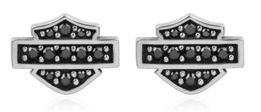 Harley-Davidson Women's Petite Black Bling Bar & Shield Post Earrings HDE0281 - Wisconsin Harley-Davidson