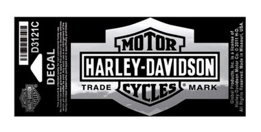 Harley-Davidson Long Bar & Shield Decal Chrome, Small Size Sticker D3121C - Wisconsin Harley-Davidson