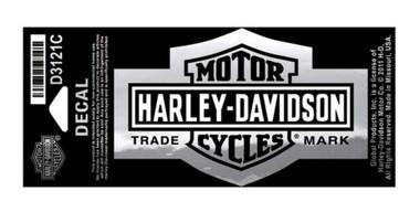 Harley-Davidson Long Bar & Shield Decal Chrome, Small Size Sticker D3121C - Wisconsin Harley-Davidson