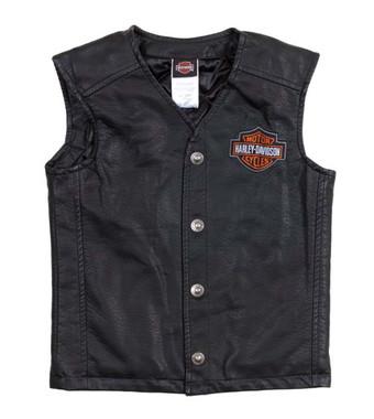 Harley-Davidson Big Boys' Bar & Shield PU Pleather Biker Vest Black 0296072 - Wisconsin Harley-Davidson