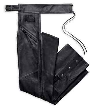 Harley-Davidson Men's Embroidered Distressed Leather Chaps, Black 98102-16VM - Wisconsin Harley-Davidson