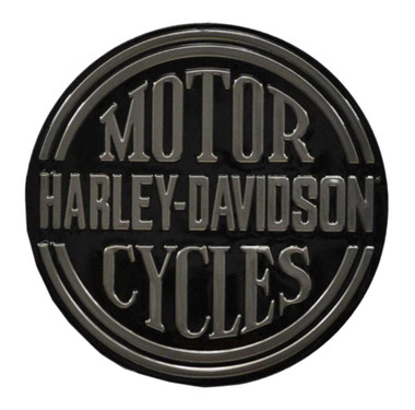 Harley-Davidson Embossed H-D Platinum Disc Round Tin Sign, Black 2010701 - Wisconsin Harley-Davidson