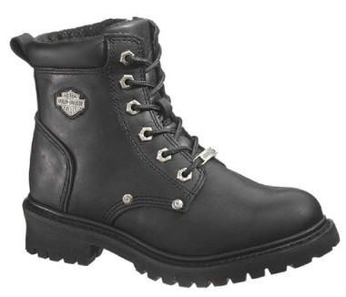 Harley-Davidson Women's Shawnee Lace Up Black 5-Inch Motorcycle Boots D84399 - Wisconsin Harley-Davidson