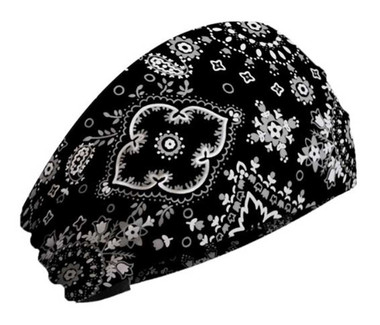 That's A Wrap Women's Bandana Flowered Paisley Knotty Band, Black KB1210 - Wisconsin Harley-Davidson