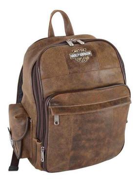 Harley-Davidson Bar & Shield Genuine Leather Large Backpack, Brown 99678 - Wisconsin Harley-Davidson