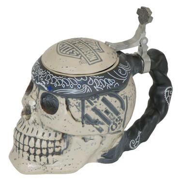 Harley-Davidson Bar & Shield Sculpted Ceramic Skull Stein, 24 oz. HDL-18606 - Wisconsin Harley-Davidson
