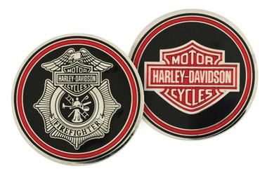 Harley-Davidson Challenge Coin, Firefighter Trans w/ Bar & Shield Logo 8003104 - Wisconsin Harley-Davidson