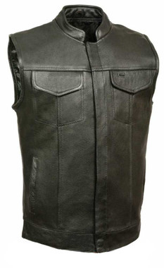 Leather King Men's Open Neck Vest With Hidden Snaps, Black SH2036 - Wisconsin Harley-Davidson