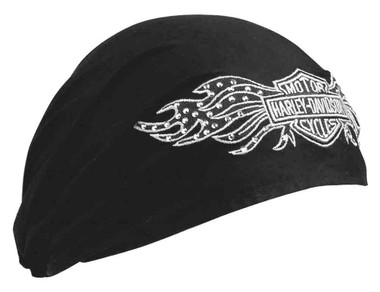 Harley-Davidson Women's Studded Winged Bar & Shield Headwrap, Black 99449-10VW - Wisconsin Harley-Davidson