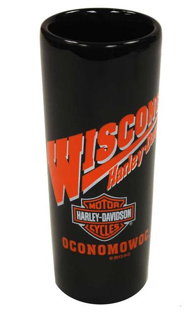 Harley-Davidson Wisconsin Harley Custom Shot Glass Tall Black W SHOT - Wisconsin Harley-Davidson