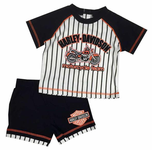 Harley-Davidson Little Boys' Jersey Short - Tee Set, White/Black/Orange. 2072511 - Wisconsin Harley-Davidson