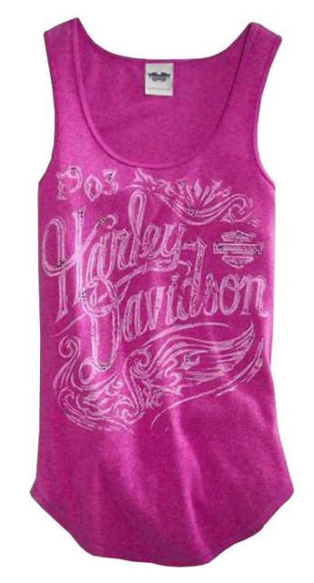 Harley-Davidson Women's Tank Top, Rhinestone Graphic, Purple Orchid 96078-16VW - Wisconsin Harley-Davidson