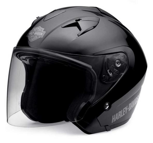 Harley-Davidson Men's 3/4  Helmet With Sun Shield Gloss Black 98210-10VM - Wisconsin Harley-Davidson