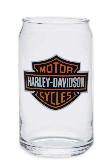 Harley-Davidson Bar & Shield Soda Can Glass 16 oz, Barware Glassware 99211-14V - Wisconsin Harley-Davidson