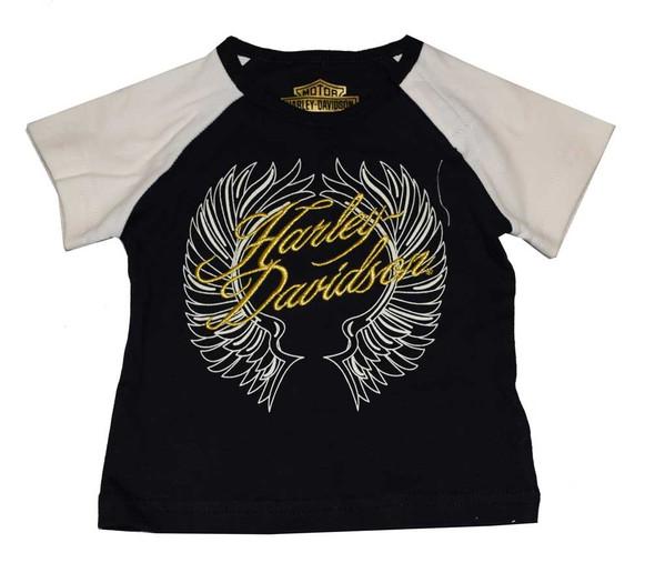 Harley-Davidson Baby Girls' T-Shirt, Newborn Interlock Wings SS Tee 4301556 - Wisconsin Harley-Davidson