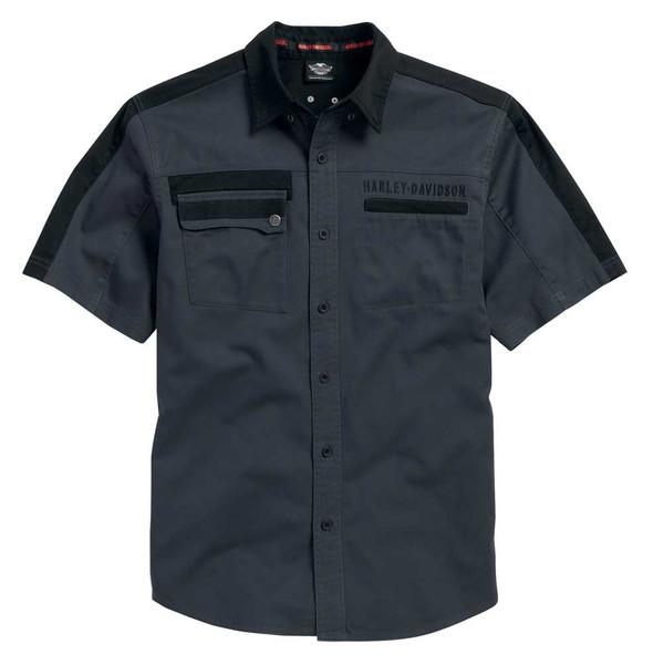 Harley-Davidson Men's Shoulder Stripe Short Sleeve Woven Shirt, Gray 96103-16VM - Wisconsin Harley-Davidson