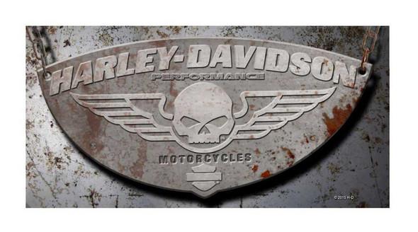 Harley-Davidson Beach Towel, Winged Willie G Skull Rusty Plate, 30x60 inch 12368 - Wisconsin Harley-Davidson
