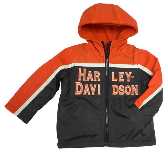 Harley-Davidson Little Boys' Embroidered Reversible Orange Fleece Jacket 6084549 - Wisconsin Harley-Davidson