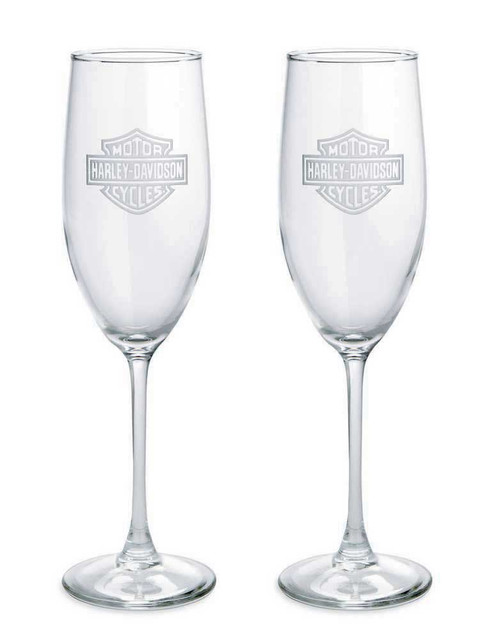 Harley-Davidson Bar & Shield Etched Logo Champagne Glass, 8 oz. Set 2. 99206-14V - Wisconsin Harley-Davidson