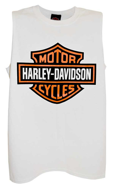 Harley-Davidson Men's Bar & Shield Logo Tank Top, White Muscle T-Shirt 30296625 - Wisconsin Harley-Davidson